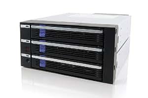 CREMAX 5インチベイ2段に3スロット SATA to SATA 対応ホットスワップ・ケース 黒 MB453SPF-B