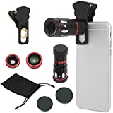 4in1 カメラレンズキット クリップ式 望遠レンズ  マクロレンズ  ワイドレンズ  魚眼レンズ iPhone6 iPhone6 Plus iPhone5s iPad Android対応