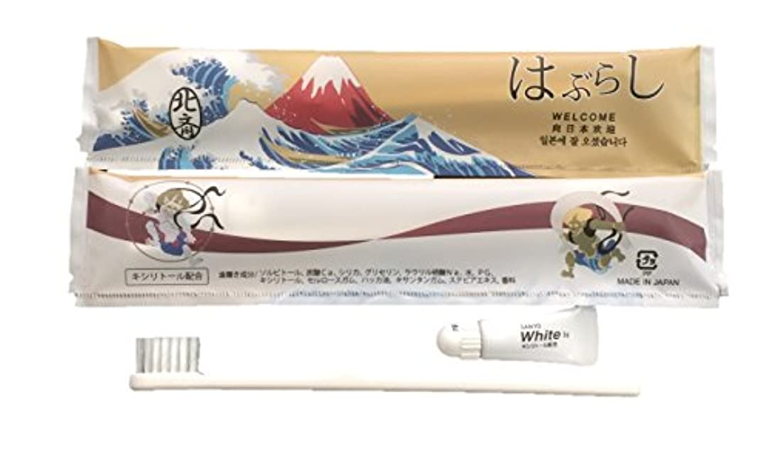 誰も飢残る使い捨てハブラシ JS-5M 100本 日本製 JAPANSERIES アメニティ 日本シリーズ 葛飾北斎 100本セット