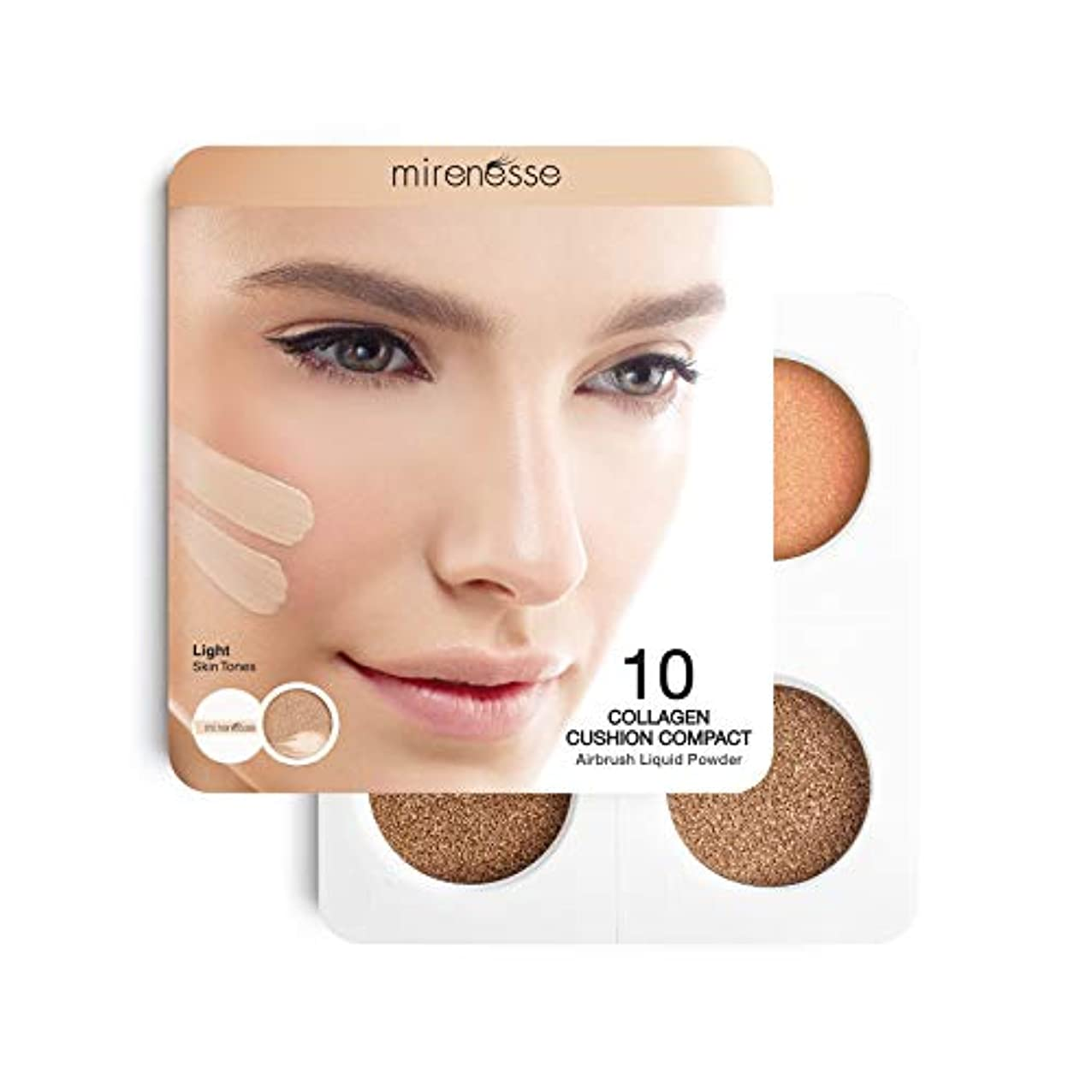 流行している崖床を掃除するMirenesse Cosmetics 4Pce 10 Collagen Cushion Foundation Sampler - Light/Medium