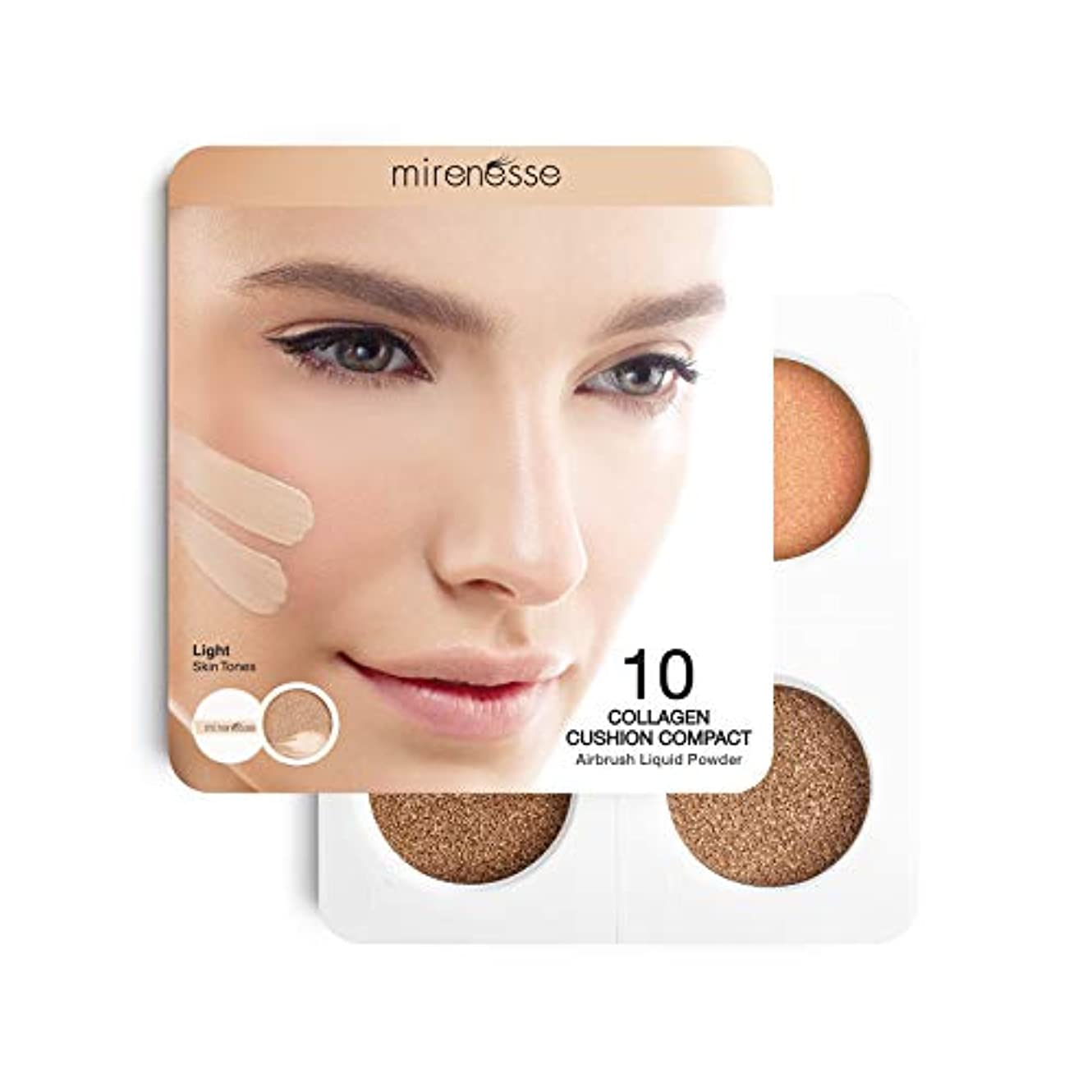 一方、恐ろしいです証書Mirenesse Cosmetics 4Pce 10 Collagen Cushion Foundation Sampler - Light/Medium