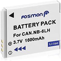 Fosmon Canon NB-6L / NB-6LH【大容量 1600mAh (5.92Wh) / 3.7V】互換バッテリ- パック (1個セット) カメラ用【純正充電器対応】キャノン PowerShot D10, D20, D30, ELPH 500 HS, S90, S95, S120, S200, SD770 IS, SD980 IS, SD1200 IS, SD1300 IS, SD3500 IS, SD4000 IS, SX170 IS, SX240 HS, SX260 HS, SX270 HS, SX280 HS, SX420 IS,SX500 IS, SX510 HS, SX520 HS, SX530 HS, SX540 HS, SX600 HS, SX610 HS, SX700 HS, SX710 HS 等対応