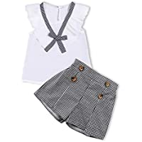 itkidboy Little Kid Girls Clothes Summer Outfits Ruffle Vest Plaid Holiday Button Shorts 2PCS Set