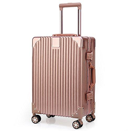 Kroeus(クロース) スーツケース 人気 軽量 4輪ダブルキャスター 静音 キャリーケース 大容量 旅行 出張 TSAロック搭載 調節可能キャリーバー ヘアライン仕上げ 傷に強い 取扱説明書付 XL ローズレッド