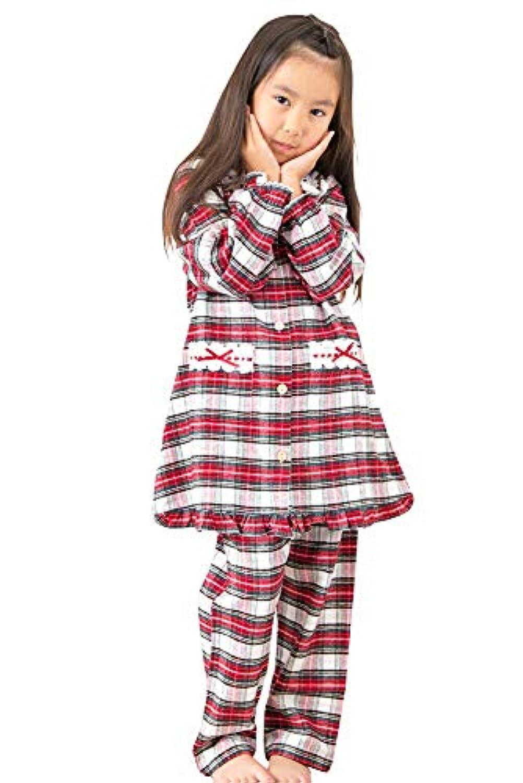 ケーズアイ 子供パジャマ女児用 綿100%ネル地ターターンチェック 前開きパジャマ 長袖?長パンツ 春?秋向き商品