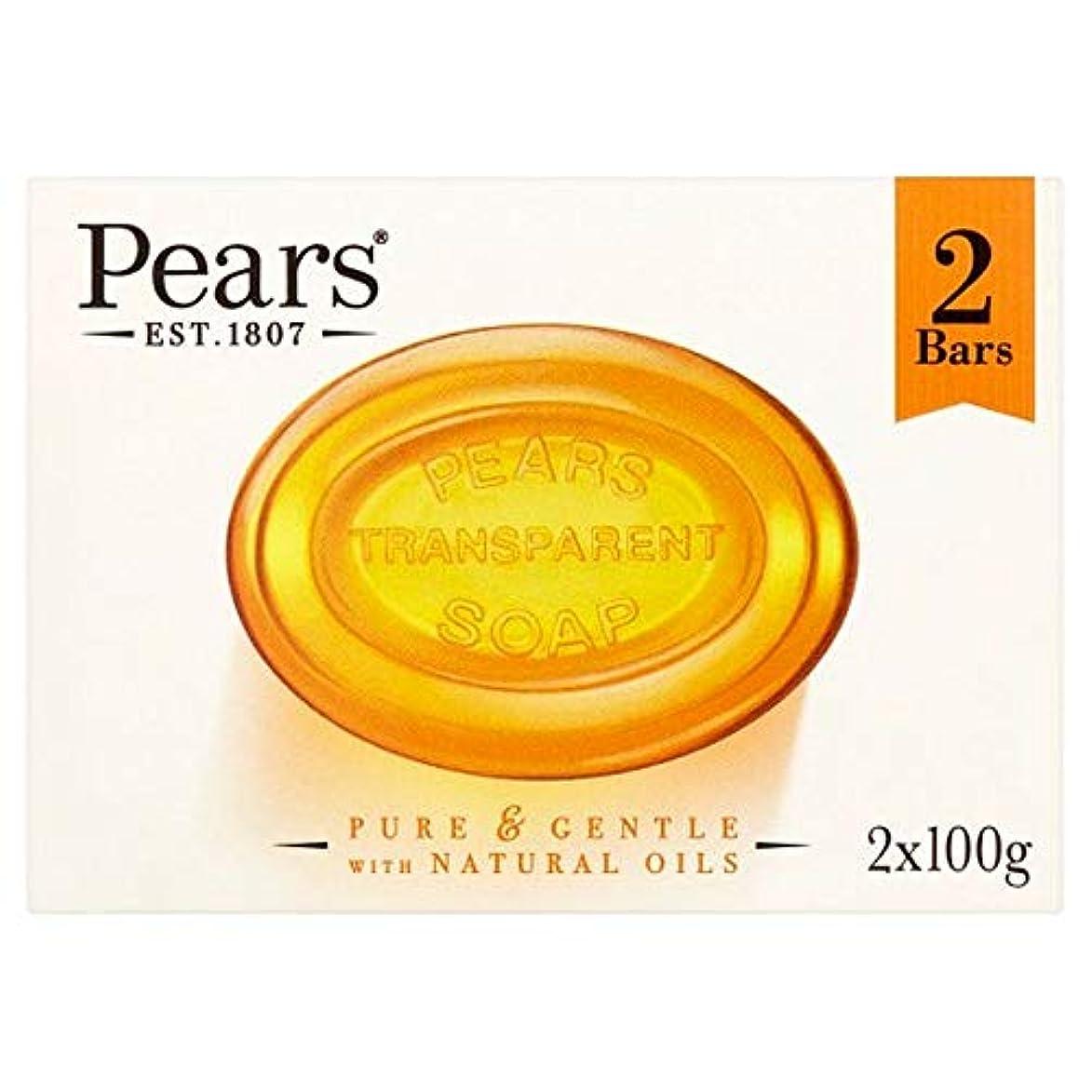 地上でパズル本物[Pears ] 梨琥珀色の固形石鹸2X100G - Pears Amber Bar Soap 2X100g [並行輸入品]