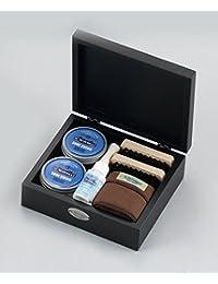 [M.MOWBRAY] M.モゥブレィ シューケア  メンズセット/ ブラック木箱のコンパクトなシューケアセット