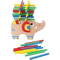 木製おもちゃ バランスゲーム 知育玩具 積み木 手指 能力 トレーニングスティック ハンズオン 木製玩具 (象)