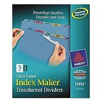 Averyインデックスラベルディバイダー、プラスチック、5-tab、パンチ、マルチ3hp