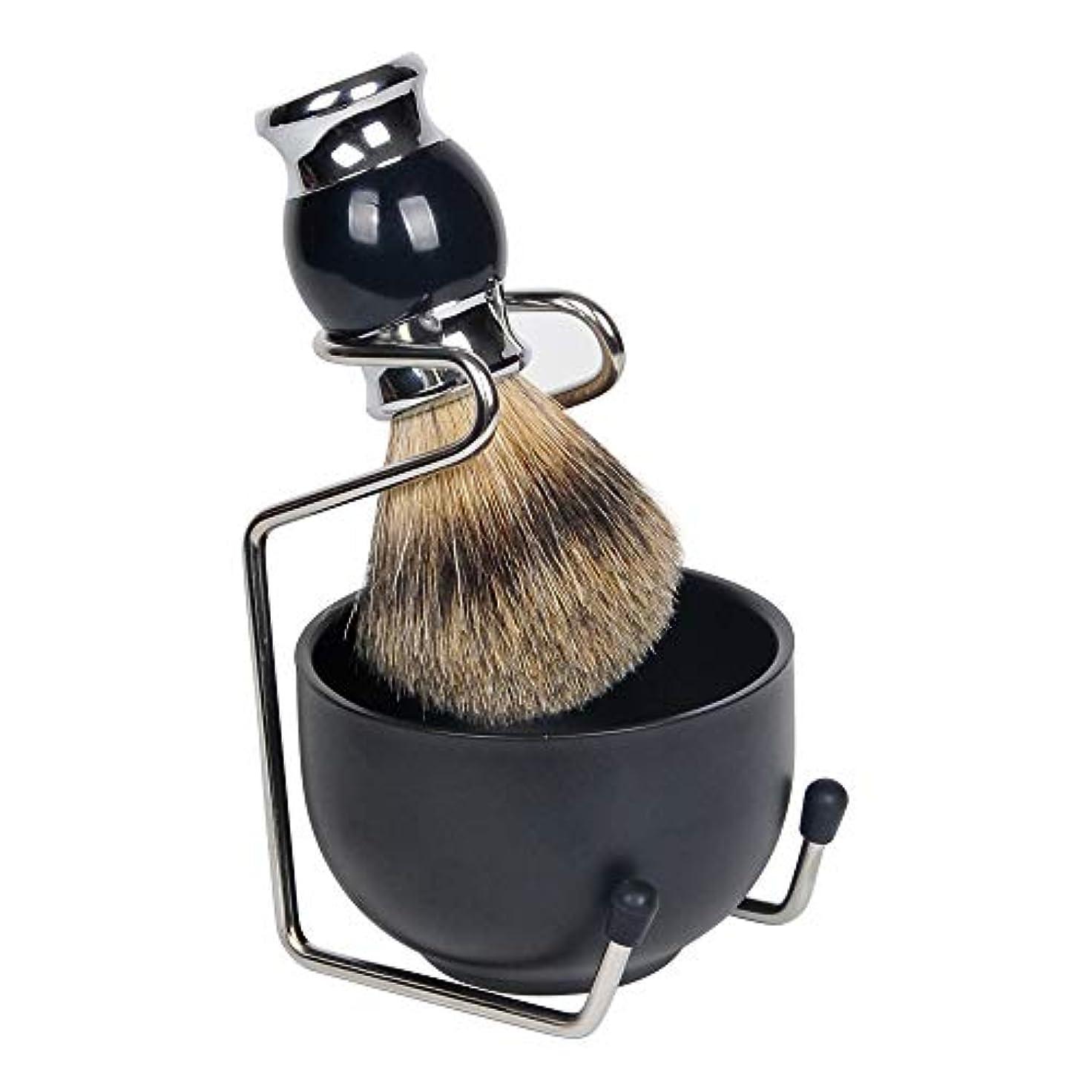 クレア養う無効1by1 ひげブラシ シェービングブラシセット シェービング石鹸ボウル 理容 髭剃り 泡立ち 洗顔ブラシ メンズ 100% アナグマ毛(3点セット 金属ブラック)