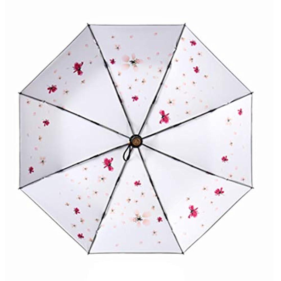 巧みな元気合理的HOHYLLYA 桜柄日傘紫外線保護日傘クリエイティブ折りたたみ雨日デュアルユースブラック傘ポータブル折りたたみ傘 sunshade (色 : ホワイト)