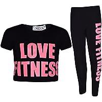 Girls Tops Kids Designer's Love Fitness Print Crop Top & Legging Set 7-13 Years