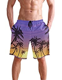 VAWA 水着 メンズ サーフパンツ おしゃれ ビーチパンツ 海水パンツ 短パン 吸汗速乾 大きいサイズ 水陸両用 葉柄 熱帯風 ココシの木柄 天空