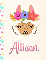 Allison: Personalized Llama Sketchbook For Girls With Pink Name - 8.5x11 110 Pages. Doodle, Draw, Sketch, Create!