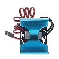 Hellery RCクローラーカーヒートシンク 1/10RCカーモーター冷却ファン 高性能 T RX4 SCX10対応 全5色 - 青い