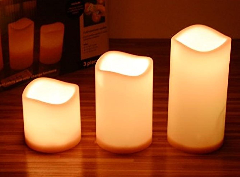 同一の変形真珠のような本物の炎のように明かり 12色 イルミネーション 蝋 リモコン 電池式 タイマー インテリア LED キャンドル ライト 3台セット