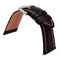 TIME4BEST Strap Quick Release Leather Watch Watchband Wristband for 20mm 21mm 22mm Mens Watches Band Womens Watches Strap Leather Watch Bands Stitching Choice of Color and Width
