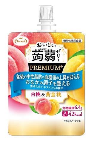 たらみ おいしい蒟蒻ゼリーPREMIUM+ 白桃&黄金桃 150g ×6個 機能性表示食品