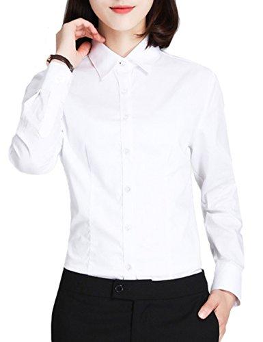 形態安定 吸水速乾 スリム 襟付き (4カラー/5サイズ)オフィス ビジネス フォーマル ブラウス ワイシャツ レディース シャツ 長袖 白 ホワイト ピンク ブルー S M L XL 2L Le ciel clair (ルシェルクレール)