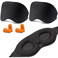 TERSELY Sleep Mask, Eye Mask,【2 PACK】【BONUS 4x Ear Plug】Soft Skin-Friendly Pure Natural Cotton Memory Foam Padded Shade Cover Sleeping Eye Mask, Sleeping Aid, Blindfold, Blocks Light, Adjustable Strap