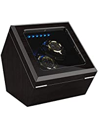 INCLAKE ワインディングマシーン腕時計自動巻き器ウォッチワインダー2本巻き上げ,中に LED ライト付き, 蓋を開ける時、作業が中止されますので、腕時計を取るにはとても便利です (松樹皮色)