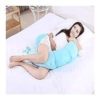 Hdhxt 妊婦の枕、枕マタニティ、妊婦サイド枕木(クレセント型)、5色のフルボディサポート枕、サポート枕眠れる森の多機能、 (Color : Blue)