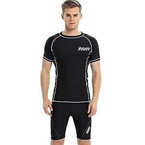 ラッシュガード メンズ 水着 上下セット 競泳水着 海水パンツ 上着+サーフィンパンツ 2点セット 半袖 競泳用 水泳 日焼け防止 (XL, A)