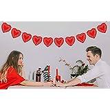 ハートガーランド - レッドフェルトハート型ガーランド - 素朴なハートワイヤーガーランドバナー - バレンタインデー、誕生日パーティーや結婚式の装飾に - キュートでスタイリッシュなホームアクセサリー