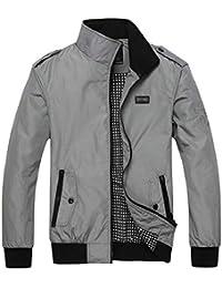 Keaac メンズファッション軽量プラスサイズジッパーウィンドブレーカーボンバージャケット