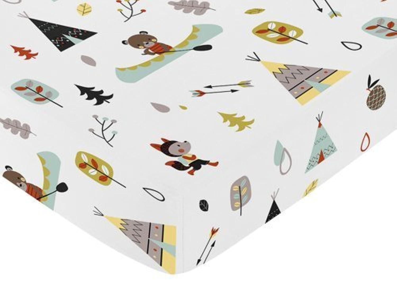 Sweet Jojo Designs Fitted Crib Sheet for Outdoor Adventure Baby/Toddler Bedding - Nature Fox Bear Animals Boys Print [並行輸入品]