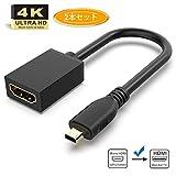 Micro HDMI to HDMI変換ケーブル、GANA HDMIマイクロ変換アダプタ タイプD(オス)-タイプA(メス)- 1080P GoPro テレビ TV デジカメ ビデオ アクション カメラ 金メッキコネクタ搭載 ブラック[2本セット] [20cm]