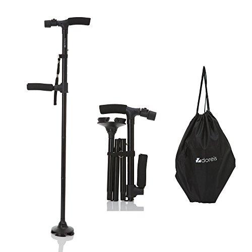 [해외](도레이스) DOREIS 자립 식 스틱 신축 축소 式杖 LED 라이트 탑재 알루미늄 블랙 수납 주머니 부착/(Drace) DOREIS self-standing cane telescopic folding cane LED light with aluminum black storage bag attached