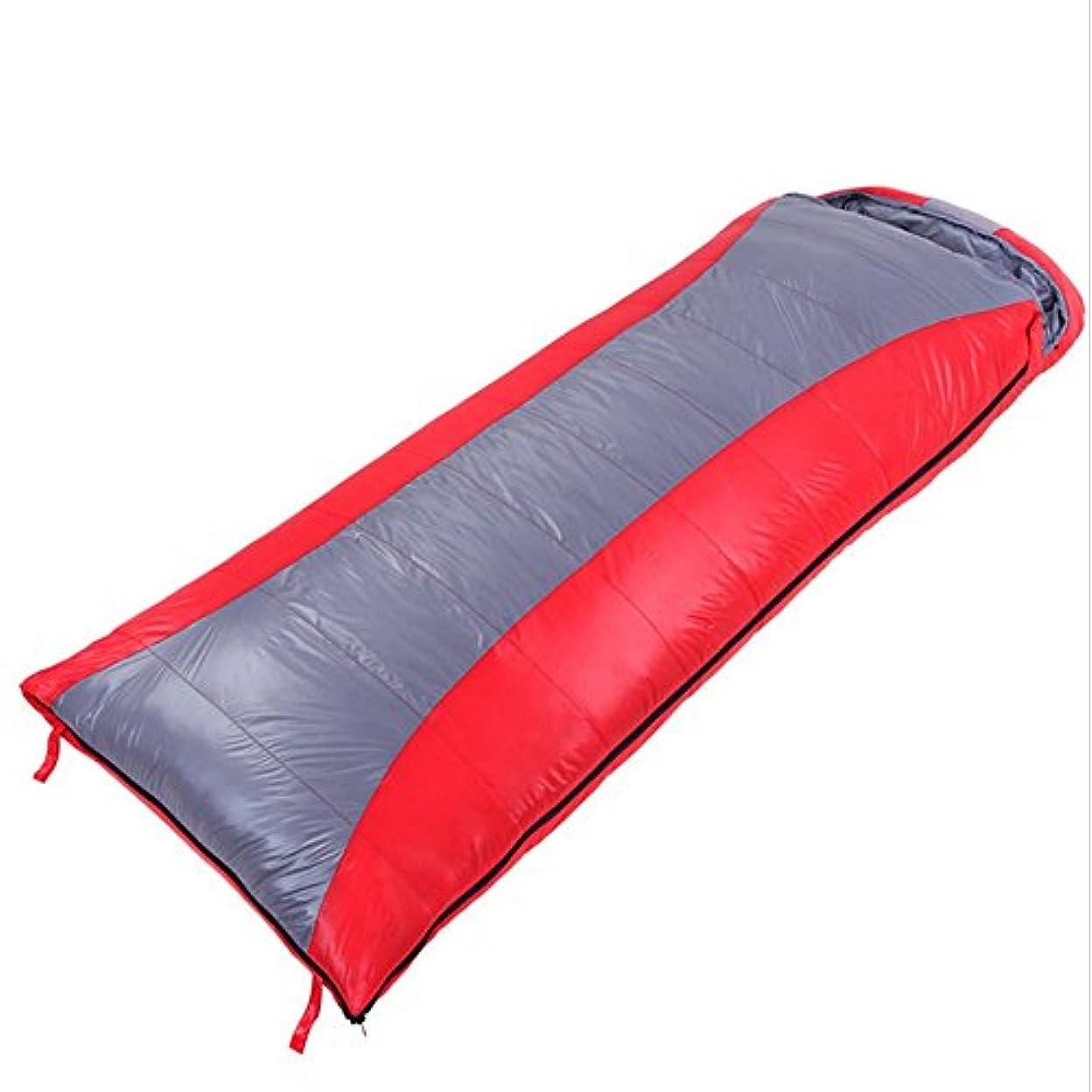 十一揮発性高価な屋外の暖かい冬のキャンプの超軽量シングル寝袋キャメル封筒ダウン寝袋 (色 : 赤)