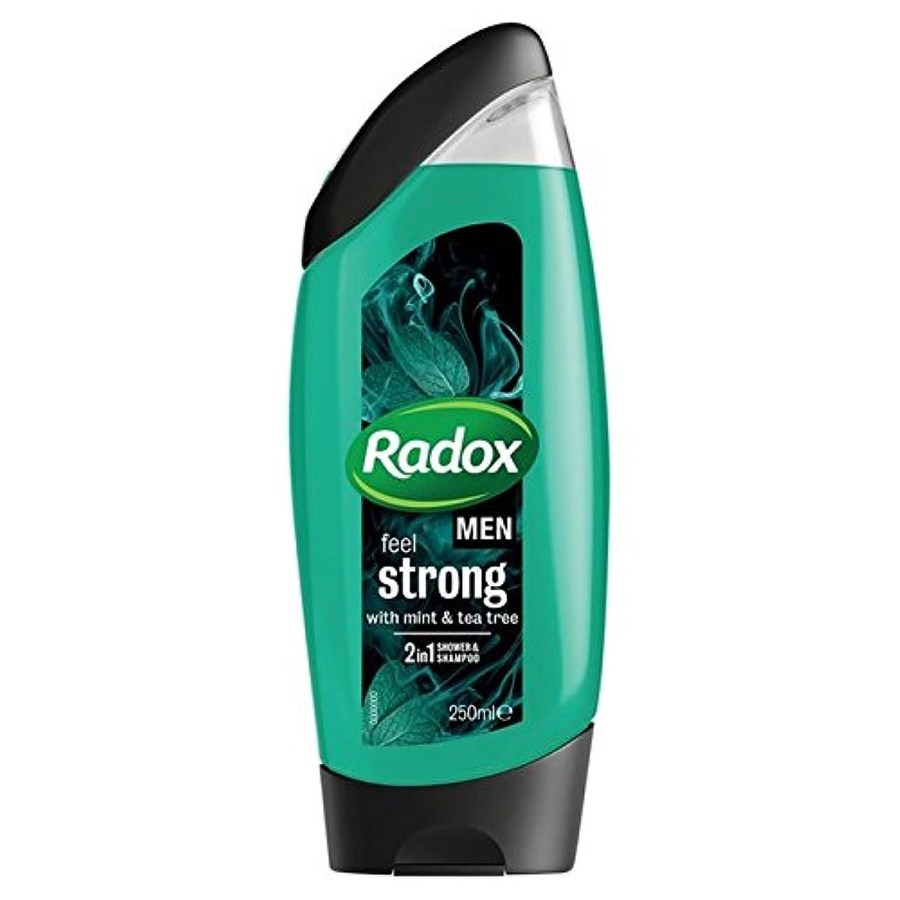 人類と組むコンパクト男性は、強力なミント&ティーツリーの21のシャワージェル250ミリリットルを感じます x2 - Radox Men Feel Strong Mint & Tea Tree 2in1 Shower Gel 250ml (Pack...