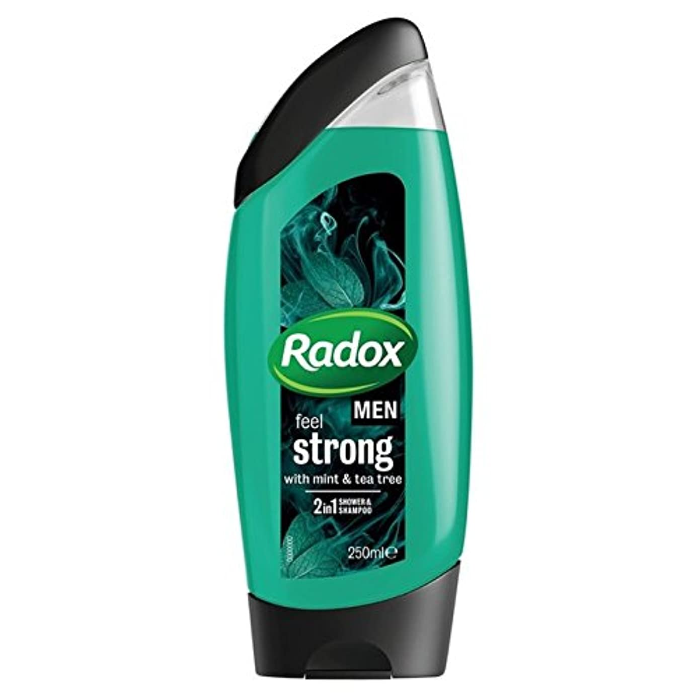 意外燃やす選択する男性は、強力なミント&ティーツリーの21のシャワージェル250ミリリットルを感じます x2 - Radox Men Feel Strong Mint & Tea Tree 2in1 Shower Gel 250ml (Pack...