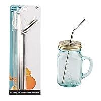Drinking Straws Reusable Stainless Steel Straws 飲用ストロー再利用可能なステンレスストロー、18/8メタルストローエクストラロングBPAフリー、4種類の食品グレード大口径、ミルクセーキストロージャンボスムージー(2ストレート| 2ベンド| 1ブラシ)