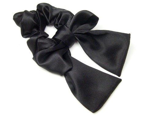 haglm212nnnbk ヘアアクセサリー 髪飾り (リトルムーン) 5WAY シュシュ サテン リボン (1) ブラック [ジュエリー]