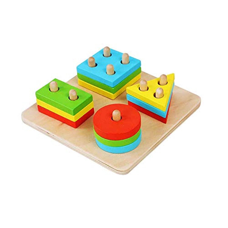Careshine 棒さしおもちゃ 積み木 形合わせ 木製玩具 図形 幾何学認知 立体パズル 四本の棒さし 円柱さし 四角形 パズル ベビー キッズ 子供 幼児用 知育玩具 可愛い カラフル