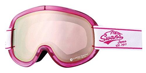 SWANS(スワンズ) ゴーグル スキー スノーボード 偏光レンズ ミラー ブイフォー V4-MPDH-C-LI W/PI ホワイト×ピンク