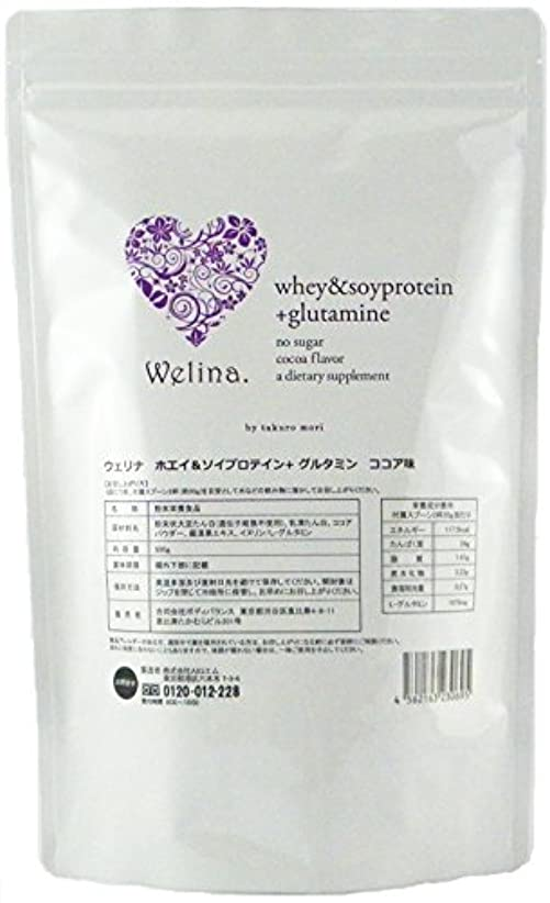 対話ベース紫のウェリナ ホエイ&ソイプロテイン グルタミン ココア味 500g