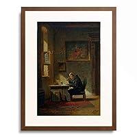 カール・シュピッツヴェーク Carl Spitzweg 「Gelehrter Monch am Schreibtisch」 額装アート作品