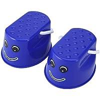 Tivollyff おもちゃ 子供用 アウトドアプラスチックバランストレーニングツール2 PCSジャンプスタンドおもちゃ子供のためのポータブルスマイルフェイスバランスシューズ 青
