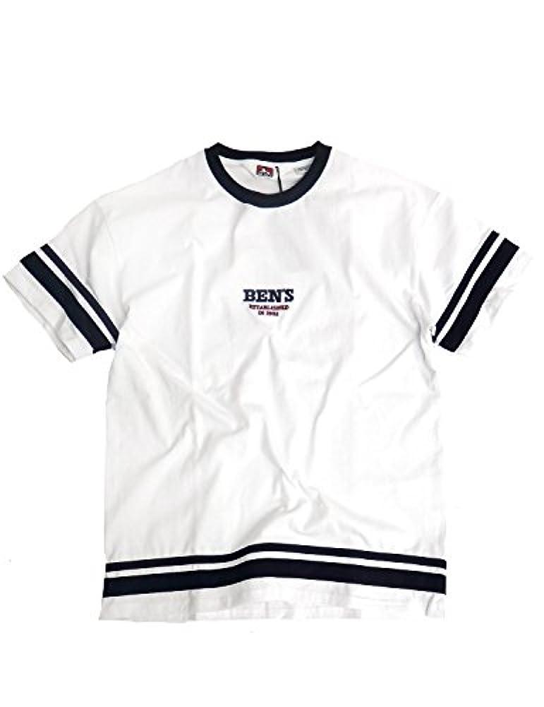 特異なチャールズキージング所得BEN DAVIS Tシャツ ロゴ刺繍 ベンデイビス 半袖Tシャツ 袖口と裾にライン入り メンズ