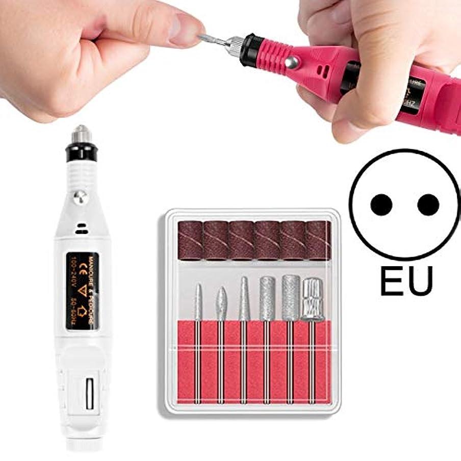 人口頂点険しいCELINEZL CELINEZL電動ネイルキットネイルチップマニキュア機電動ネイルアートペン(EUブラック) (色 : EU White)