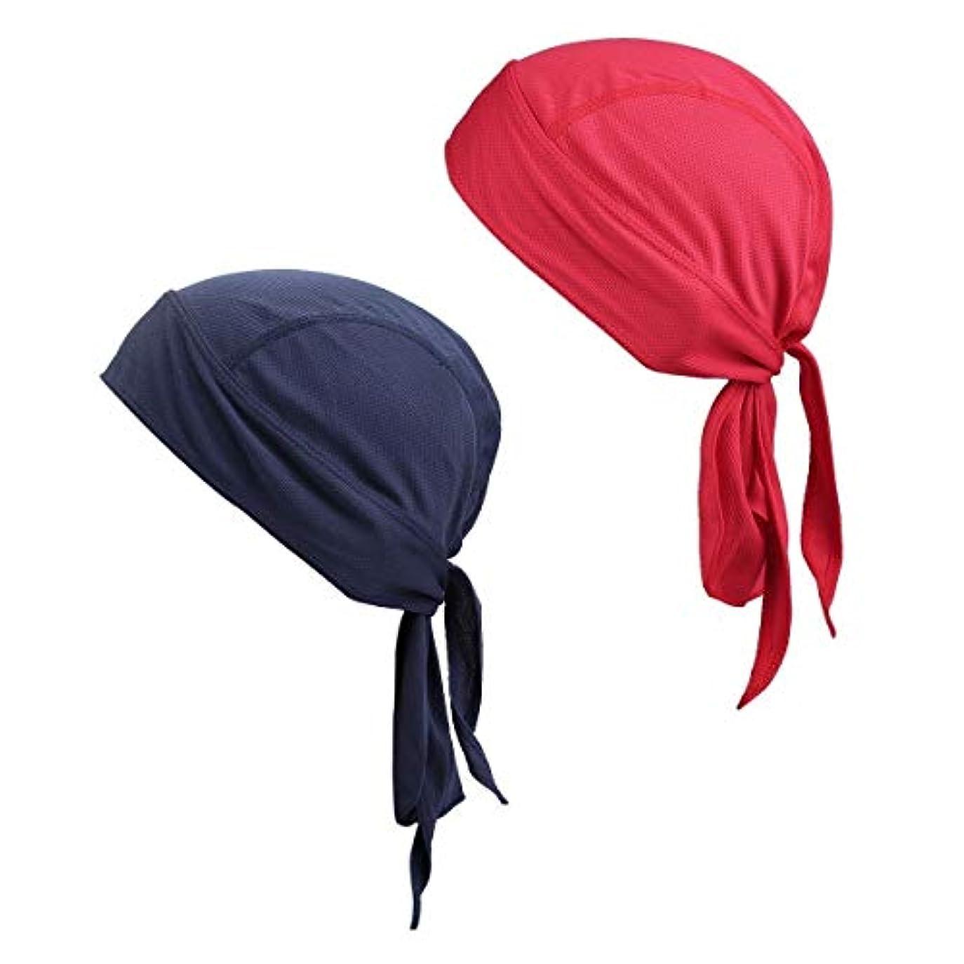どちらか役職チャンピオンSportmusies スカルキャップ 帽子 メンズ レディース ランニング ヘッドラップ サイクリング ビーニーハット 湿気発散 速乾 2個パック