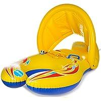 浮き輪 親子用 浮輪 タンデムリング プールボート ベビーシート 屋根付き シェード 足入れ ハンドル付き 背もたれ キッズ ベビー 赤ちゃん ビーチ プール 水遊び スイミング 水泳 夏の日