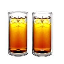 Sun's Tea(TM) 470ml Strong Double Wall Thermo Glass Tumblers for Beer/Cocktail/Lemonade/Iced, Set of 2