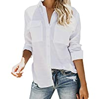 Inorin Womens Casual Tops V Neck Button Up Shirts Linen Cuffed Sleeve Collared Slit Blouse