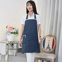 クッキングキッチンエプロンホームワークタバード キッチン韓国のファッションコットンキッチン防水エプロンミルクティーコーヒーショップネイルワークエプロン (色 : 青)