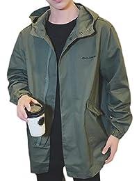 maweisong メンズトレンチコートコートは、ヘムフルジップビッグとトールソリッドカラーコートアウターウェアを湾曲